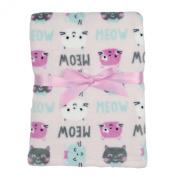 Baby Gear Plush Velboa Ultra Soft Baby Girls Blanket 30 x 40, Meow Cats