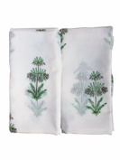 Anora Cotton Baby Swaddle Blankets(2)★ White & Green Colour★ Made with Organic Cotton; Soft and Lightweight; Breathable and Absorbent; Durable and Eco Friendly★ No Overheating