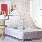 New Lace Bed Mosquito Netting Mesh Canopy Princess Round Dome Bedding Net White