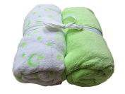 Cosy Fleece Microplush Crib Sheets, Mint Green/White with Moon and Stars