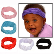 Baby Infant Girl & Kids Knot Fashion Hairband Set With 6 Stretchy, Soft Headbands for Infants, Toddler Girls & Older Girls - Fits 3 Months to 5 Years