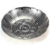 Gigamax(TM)Folding Stainless Mesh Food Dish Vegetable Egg Fruit Steamer Basket Cook Poacher