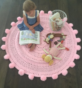 Pom Pom Playmat Handmade From Softest Cottons for Baby in Fun Designs Crochet Blanket