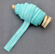 10 Yards Aqua Blue 5/8 Fold Over Elastic Shinny Foldover Elastic Cord Elastic Headband Elastic Lace FOE Hair Bow Ties DIY EL013
