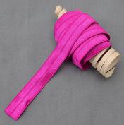 10 Yards Fuchsia Pink 5/8 Fold Over Elastic Shinny Foldover Elastic Cord Elastic Headband Elastic Lace FOE Hair Bow Tie DIY EL003