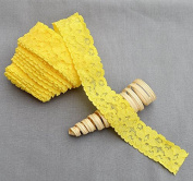 10 Yards Lemon Yellow 2.5cm Elastic Lace Stretch Lace Elastic Lace Trim Elastic Headband Bridal Garter Baby Hairbow Ties EL026