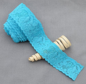 10 Yards Turquoise Blue 3.8cm Elastic Lace Lace Elastic Lace Trim Elastic Headband Bridal Garter Baby Hairbow Ties DIY EL040