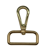 Tianbang Golden 3.8cm Inside Diameter D Ring Lobster Clasp Claw Swivel Eye Lobster Snap Clasp Hook for Strap Pack of 4