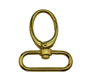 Tianbang Golden 3.8cm Inside Diameter Oval Ring Lobster Clasp Claw Swivel Eye Lobster Snap Clasp Hook for Strap Pack of 4