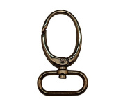 Tianbang Light Golden 2.5cm Inside Diameter Oval Ring Lobster Clasp Claw Swivel Eye Lobster Snap Clasp Hook for Strap Pack of 4