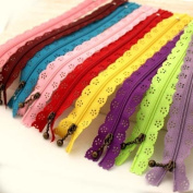 Teensery 20cm Long DIY Nylon Coil Lace Zippers Flower Zipper For Sewing Tailor Craft Dress Bag Colour Random