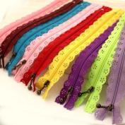Teensery 20cm Long DIY Nylon Coil Lace Zippers Flower Zipper For Sewing Tailor Craft Dress Bag Colour Random