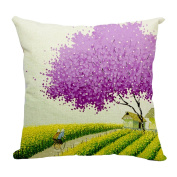 Hflove Pastoral Creative Colour Tree Silhouette Thickening Cotton Pillow