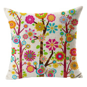 Hflove Garden Flowers and Trees Cartoon Rainbow Butterfly Children Linen Thickened Pillow