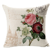 Hflove American Style Luxury Palace Flower Linen Fabric Sofa Cushions