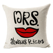 Hflove Mr.mrs Lip Beard Boyfriend Couples Cotton Pillow