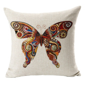 Hflove European Creative Colourful Butterfly Pattern Cotton Pillow