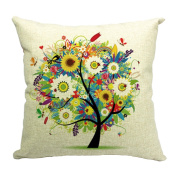 Hflove Creative Pastoral Life Tree Cushion Sofa Bed Backrest