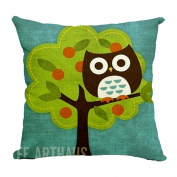 Hflove Pastoral Cute Cartoon Owl Cotton Pillow Sofa Cushions