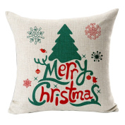 Hflove Christmas Cartoon Santa Claus Snow Deer Square Pillow