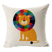 Hflove Cartoon Animal Cute Children Hand-painted Linen Cushion