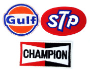 Set_MOTOR005 - Gulf Oil Race Team Patch, Auto Racing Patches Set - Motor Patches - Applique Embroidered patches - Iron on Patches - Backpack Patches - STP Oil Patches, Champion Patch, Gulf Patch