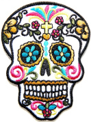 Cross Flower Skull Ghost Day Of The Death Love Never Die Rockabilly Lady Rider Hippie Punk Tatoo Jacket T-shirt Patch Sew Iron on Embroidered Sign Badge Costume