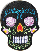 Rose Sugar Skull Ghost Day Of The Death Love Never Die Rockabilly Lady Rider Hippie Punk Tatoo Jacket T-shirt Patch Sew Iron on Embroidered Sign Badge Costume