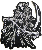22cm Big Grim Reaper Skull Ghost God Of Death Motorcycle Rider Biker Tatoo Jacket T-shirt Patch Sew Iron on Embroidered Sign Badge Costume
