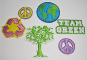 Forever Green Iron-On Appliques - Recycle, Peace Signs, Team Green