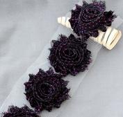 1 Yard 14 pcs Black Fuchsia Hot Pink Polka Dot Shabby Flowers Shabby Rose Trim Printed Shabby Flowers Chiffon Rose Trim LA119
