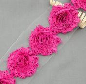 1 Yard 14 pcs Fuchsia Hot Pink Black Polka Dot Shabby Flowers Shabby Rose Trim Printed Shabby Flowers Chiffon Rose Trim LA093