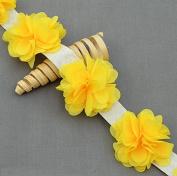 1 Yard 14 pcs Lemon Yellow Chiffon Rose Lace Trim Shabby Flower Lace Chiffon Flower Lace Felt Pad Bridal Garter Headband LA090