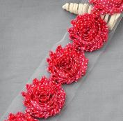 1 Yard 14 pcs Red White Polka Dot Shabby Flowers Shabby Rose Trim Printed Shabby Flowers Chiffon Rose Trim Headband LA112