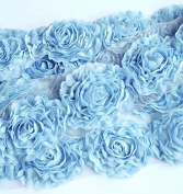1 Yard Chiffon Rose Lace Trim Applique Sky Blue 3D Bridal Wedding Camellia Ruffled Flower LA087