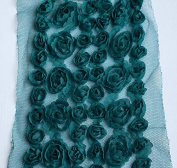 2 Yards Chiffon Rose Lace Trim Applique Peacock Green Forest Green Bridal Wedding Mesh Tulle 6 Row Tutu FREE Combine Ship LA009