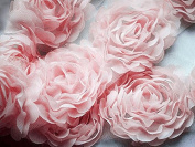 2 Yards Chiffon Rose Lace Trim Applique Pink Bridal Wedding Camellia Ruffled Flower Craft Supply FREE Combine Shipping US LA022