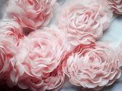 2 Yards Chiffon Rose Lace Trim Applique Pink Bridal Wedding Camellia Ruffled Flower Craft Supply FREE Combine Shipping US LA022