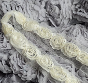 5 Yards Chiffon Rose Lace Trim Applique Ivory Light Cream Bridal Wedding Mesh Tulle Tutu FREE Combine Shipping USA LA064