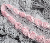 5 Yards Chiffon Rose Lace Trim Applique Light Pink Bridal Wedding Tulle Tutu Dress FREE Combine Shipping USA LA056