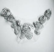Chiffon Rose Lace Collar Trim Applique Grey 3D Bridal Wedding Camellia Ruffled Flower FREE Combine Shipping US LA033