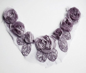Chiffon Rose Lace Collar Trim Applique Light Amethyst Purple Bridal Wedding Ruffled Flower FREE Combine Shipping US LA032