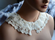Pearl Rhinestone Beaded Collar Chiffon Lace Trim Applique Cotton Collar Bridal Wedding Necklace FREE Combine Shipping US LA072