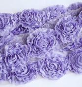 2 Yards Chiffon Rose Lace Trim Applique Lavender Light Purple Bridal Wedding Camellia Ruffle Flower 3D LA018