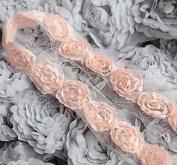 5 Yards Chiffon Rose Lace Trim Applique Peach Pink Bridal Wedding Tulle Tutu Dress FREE Combine Shipping USA LA063