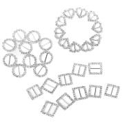 Tinksky 30pcs Rhinestone Ribbon Buckle Sliders for DIY Craft Wedding Card Invitation