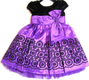 Jona Michelle Black Velvet and Purple Taffeta Dress 3T