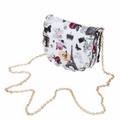 Mini London Paris City Print Rhinestone Rounded Crossbody Saddle Shoulder Bag Handbag Clutch