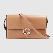 Gucci Icon Leather Wallet with Strap Camelia Camel Nude Italian Interlockingcamelia Camel Nude