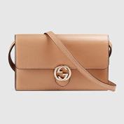 Gucci Icon Leather Wallet with Strap Camelia Camel Nude Italian Interlockingcamelia Camel Nude